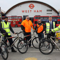 London bus drivers get on their bikes to promote road safety